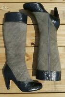 TARYN ROSE Knee High Boots Sugar Size 7 M Patent Leather Suede Black Gray