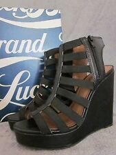 LUCKY BRAND Riona Womens Black Zip Up Platform Wedges Strappy Shoes US 8.5 NWB
