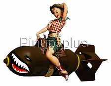 Cowgirl Pinup Girl riding Bomb Nose Art Waterslide Decal S903 by pinupsplus