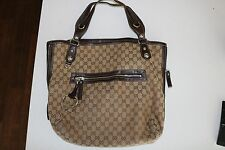 LARGE GUCCI  HORSEBIT CANVAS TOTE PURSE WITH BROWN LEATHER ACCENTS PURSE