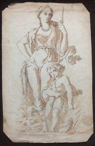 Dessin Ancien Aquarelle Allégorie Chasse Pêche Femme Peinture Mythologie XIXème