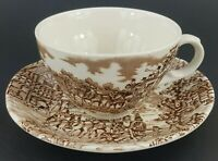 """Coaching Days Brown by Franciscan 2 3/8"""" Flat Cup & 5 1/2"""" Saucer Set EUC VTG"""