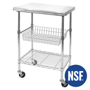 """SEVILLE CLASSICS STAINLESS STEEL NSF KITCHEN WORK TABLE CART, 24"""" WX20"""" DX36""""H"""