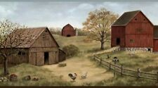 Farmstead Border Ctr65391B wallpaper country red green blue Easy-Walls prepasted