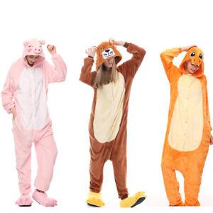 Comfortable Unisex Adult Pajamas Tiger lion Pig Cosplay Costume Animal Sleepwear