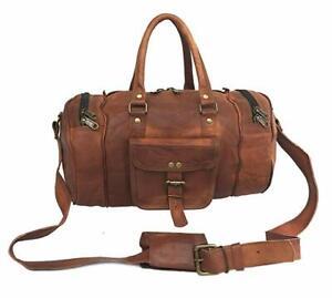 """16"""" Leather Genuine Travel Bag Duffle Gym Men Vintage Luggage Air Bag Weekend"""