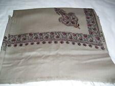 "Indian Kashmiri Pure Wool Shawl Stall Wrap Lap Throw Long scarf 48""x98"" Lt Taupe"
