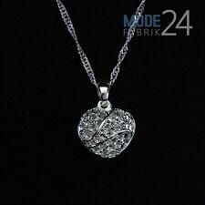 Damen Hals Kette 925 Sterling Silber pl Geschenk Herz Liebe 3D Collier Anhänger