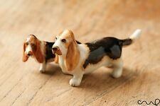 Set of 2 Ceramic Hound Basset Dogs Ornaments Collectable Animal Figurine Gift
