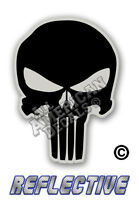 """5- Punisher Decal SKULL 1"""" inch Reflective Decal Sticker Black and Gray"""