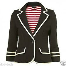 Topshop Navy White Piped Jersey Stripe Lined Vtg Sailor Blazer Jacket 10 38 US6