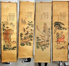 Chinese Vintage Paper Mural Tiger Crane Eagle Horse Set of Hanging Painting