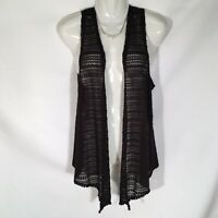 Self Esteem Open Vest Crotchet Black Top Sleeveless Womens Size Small