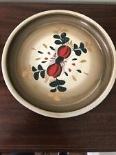 VTG Antique Round Metal Tole Toleware Beige Peach Fruit Serving Tray Painted