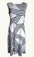 Ex M&S Ladies Black & White Knee Length Summer Dress Size 10 - 22
