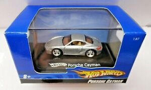 2007 HOT WHEELS SILVER PORSCHE CAYMAN, 1:87TH HO SCALE BOXED DISPLAY CASE, VHTF