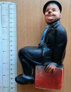 RARE Oliver Hardy ( LAUREL ) TV CHARACTER RUBBER TOY DOLL BISERKA ART YUGOSLAVIA