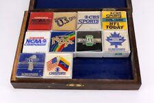 10 VINTAGE CBS SPORTS TELEVISION ADVERTISING BLOCKS & BOX NBA NCAA SUPERBOWL