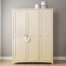 3 Door Triple Wardrobe Cream Ivory Bedroom Furniture White Painted Storage Unit