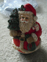 "Vintage Heavy Resin Santa Claus with Tree Figurine 4 1/2"" Tall"