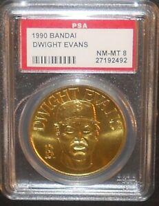 PSA 8 NM-MT 8 - Dwight Evans Boston Red Sox 1990 Bandai Brass Baseball Coin