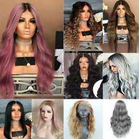 Women Blonde Long Full Wavy Front Lace Wig Curly Synthetic Hair Wigs Cosplay Hot