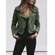Women's Ladies Faux Leather Jacket Flight Coat Zip Up Biker Casual Tops Clothes