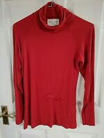 ZARA WOMENS SCARLET RED LONG SLEEVE TOP SIZE 8 M POLO NECK PIT TO PIT 17 INCH