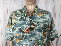 Hilo Hattie Hawaiian S/S Shirt Mens XL Original Hawaii Tropical Blue Floral