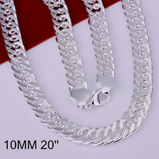Cool 925Sterling Silver 10MM Flat Sideway Gentle Men Chain Necklace 20inch N039