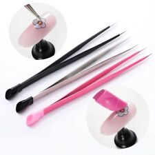 3D Sticker Metal Rhines tones Straight Nail Tweezers with Silicone Pressing Head