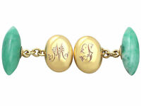 Jade and 15 ct Yellow Gold Cufflinks Antique Circa 1900
