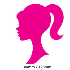 Barbie silhouette Head sticker 100mm x 126mm