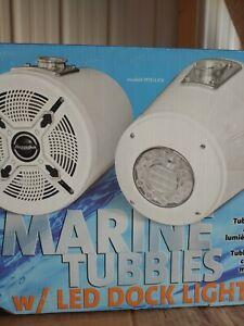 """Bazooka MT81LKW 8"""" White Lighted Marine Tubbies Speakers"""