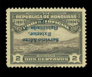 HONDURAS 1931 AIRMAIL OFFICIALS Tegucicalpa view OVPT. INVERTED 2c Sc# CO7var MH