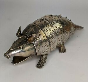Taxco Los Castillo Mexican Silver plated Articulated Armadillo - Signed SUPERB