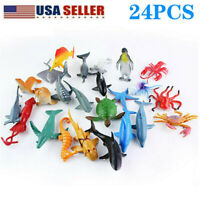 24 Pcs Ocean Toys Sea Creatures Plastic Figure Dolphin Turtle Gifts Animals Toy