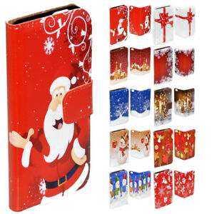 For Samsung Galaxy Series Christmas Theme Print Wallet Mobile Phone Case Cover 3