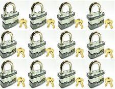 Lock Set by Master 1KA (Lot of 12) KEYED ALIKE Identical Same Laminated Padlocks