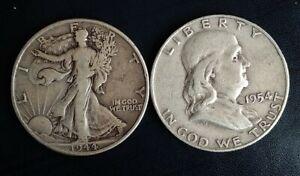 Two Walking Liberty Silver Half Dollars 1944 and 1954