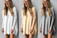 Ladies Long Loose Jumper Tops Batwing Sleeve Sweater Pullover Mini Shirtdress