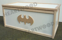 TOY BOX WITH BATMAN SHAPE ON SIDE/WOODEN/CHILDREN/BOYS/GIRLS/STORAGE