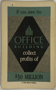 1989 TRUMP THE GAME BOARD GAME PART ONLY, $30 MILLION OFFICE BUILDING CARD