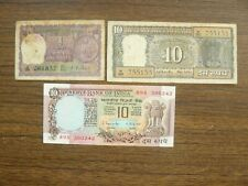 India Republic Set of 3 Notes 1, 10, 10 Rupees ND (1969-1975)