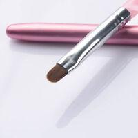 No.6 Pro Nail Art UV Gel Painting Brush Pen With Cap Pink Salon  Tool