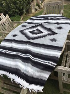Vintage Thick Wool Rug Throw Mexican Aztec