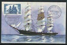 France - Carte maximum 1955 - Bateau , le voilier la Capricieuse