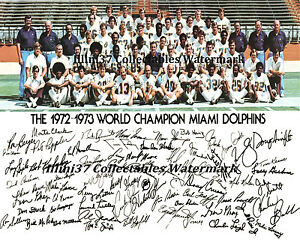 1972 MIAMI DOLPHINS UNDEFEATED NFL SUPER BOWL CHAMPIONS TEAM SIGNED 8X10 PHOTO