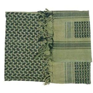 SHEMAGH 100% Cotton Military Army Head Arafat Keffiyeh Forces Olive Green Black