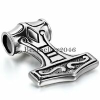 """Thor's Hammer Viking Amulet Mjolnir Stainless Steel Pendant Necklace w/Chain 22"""""""